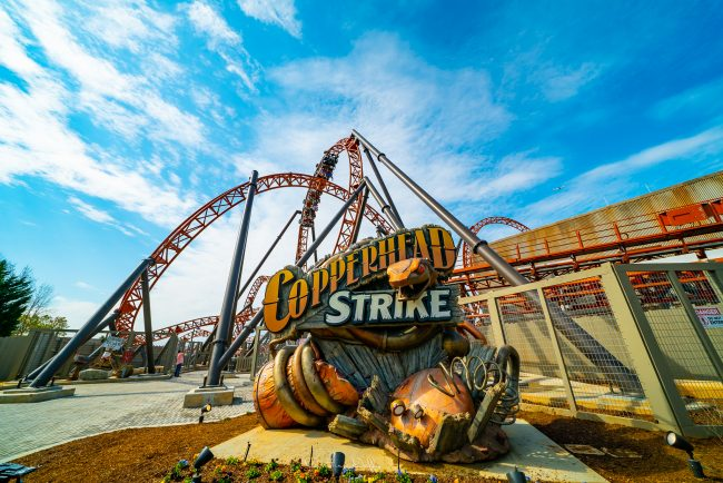 Copperhead Strike, Roller Coaster, Copperhead Strike Roller Coaster, Sky, Orange, Blue